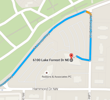 Map depicting Sandy Springs office location at 6100 Lake Forrest Dr NE