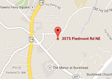 Map depicting address and location of the Piedmont Center offices at 3575 Piedmont Rd NE